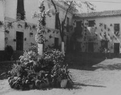 """descripción:""""Cruz de Mayo instalada plaza de San Rafael por Los Minguitos año 1956"""