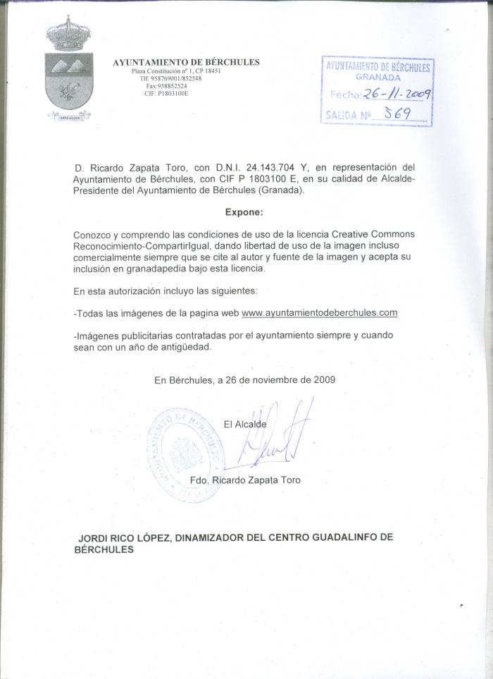 Autorizaci n del ayuntamiento de b rchules granadapedia for Nombre del ministro de interior y policia