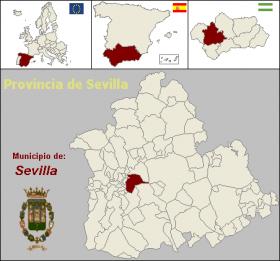 Situación de la provincia de Sevilla en el mapa provincial de España